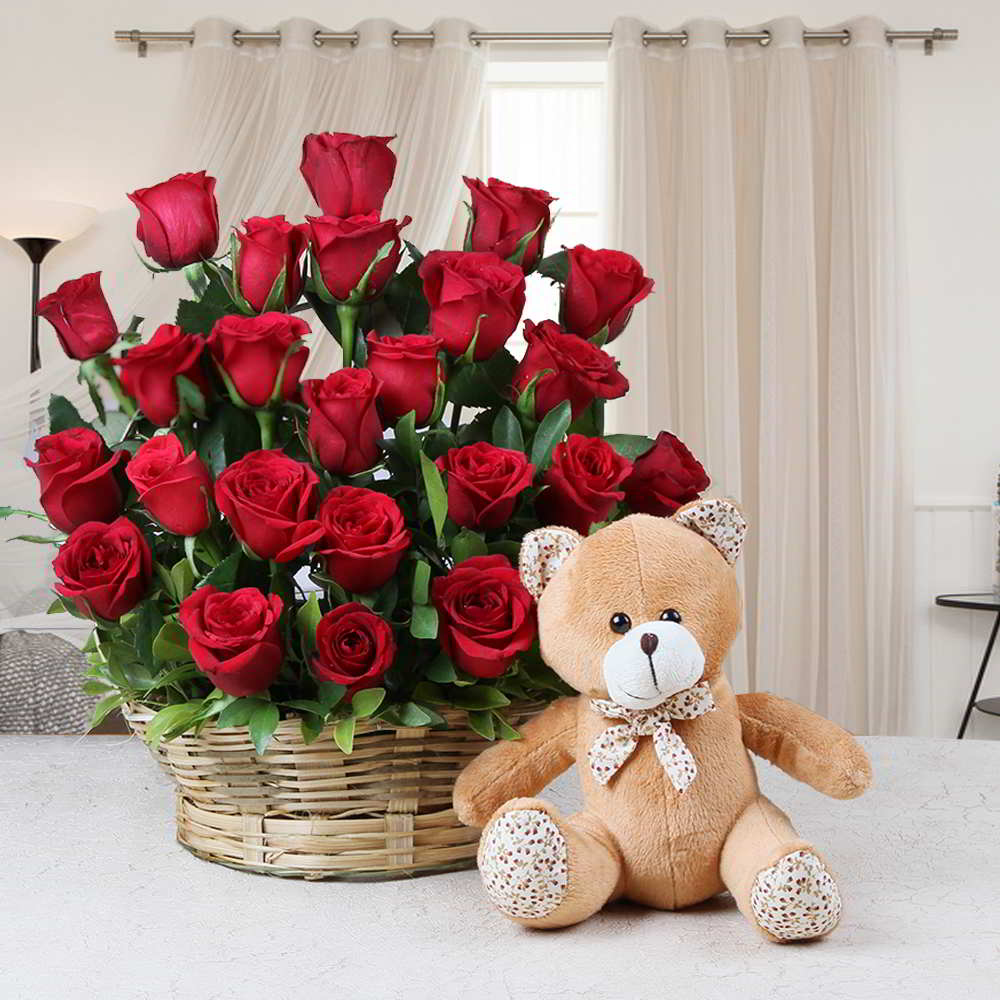 Basket Arrangement of Red Roses with Teddy Bear