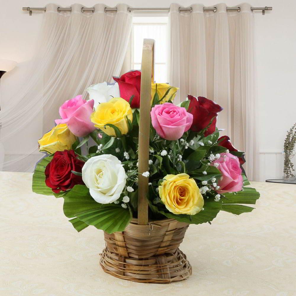 Fantastic Colorful Roses Basket Arrangement