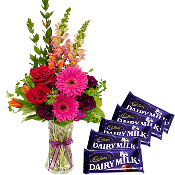 Flower Vase and Chocolates Combo