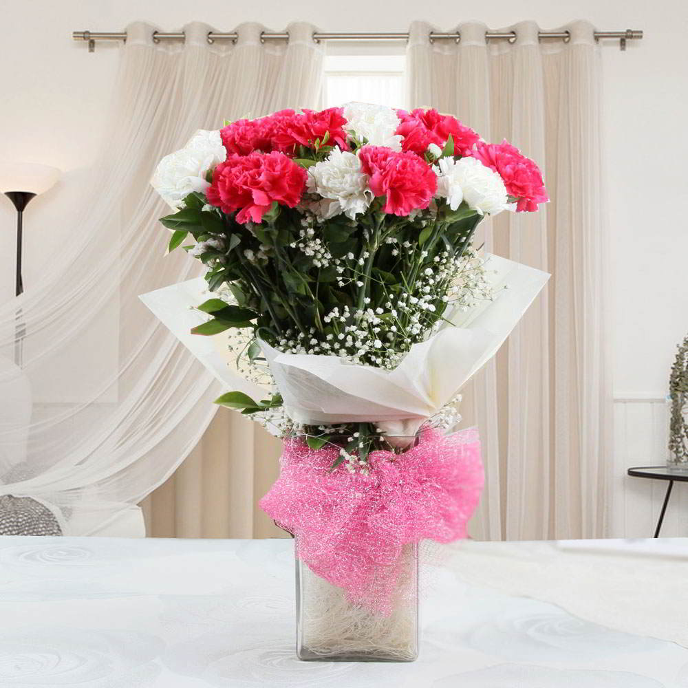 Glass Vase of Mixed Carnations Flowers