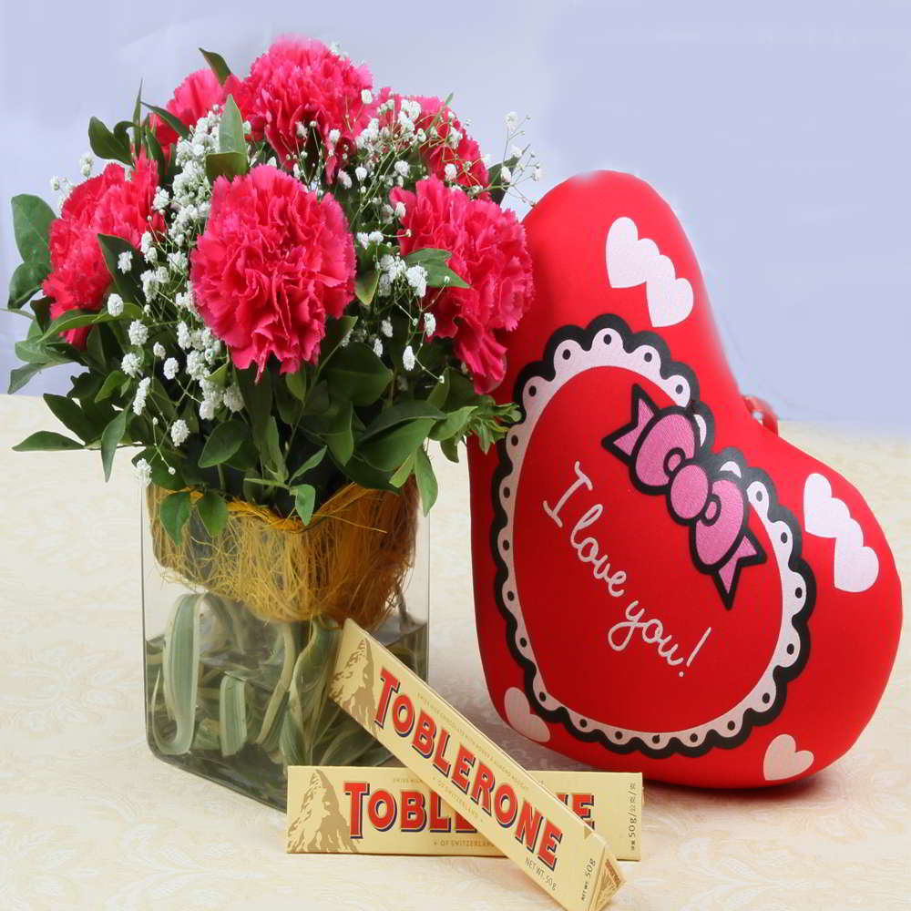 Pink Carnations with Small Cushion and Toblerone Chocolates