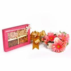 1 Kg Mix Dryfruits Box with Ten Mix Seasonal Flowers Bunch