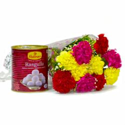 1 Kg Mouthwatering Rasgulla with 10 Mix Carnations