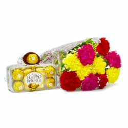 10 Assorted Carnation Bunch with Ferrero Rocher Imported Chocolate Box