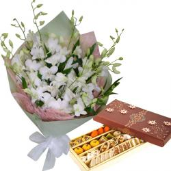 10 Elegant White Orchids & Assorted Sweets Pack