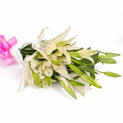 10 Exotic White Lilies in Tissue Wrapping