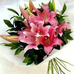 10 Pink Lilies Bouquet