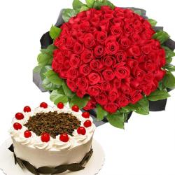100 Red Roses And Black Forest Cake