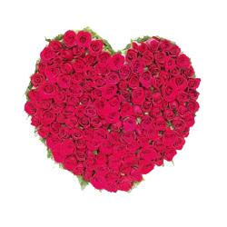 100 Red Roses In Heart Shape A Basket