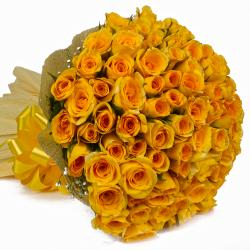 100 Yellow Roses Bouquet with Tissue Packing