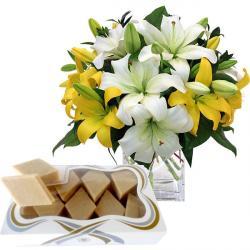 12 Lilies Vase and Kaju Katli