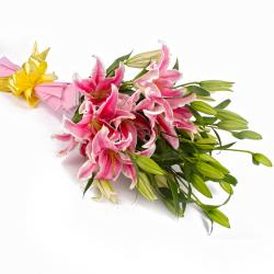 12 Pink Lilies Hand Tied Bunch Tissue Packed