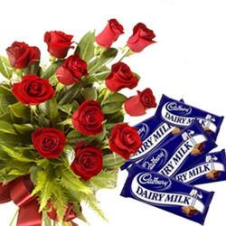 12 Roses with Dairy Milk Bars
