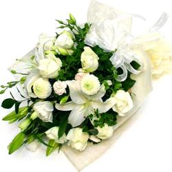 15 White Flowers Hand Tied Bouquet