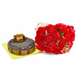 20 Red Carnatons and Chocolate Cake