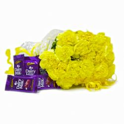 20 Yellow Carnation Bouquet with Bars of Cadbury Dairy Milk Chocolates