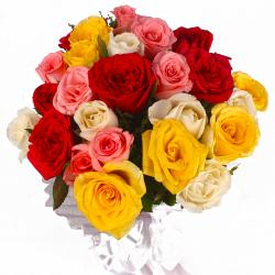 24 Mix Color Roses in Tissue Wrapped