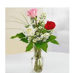 3 Mix Roses In Vase