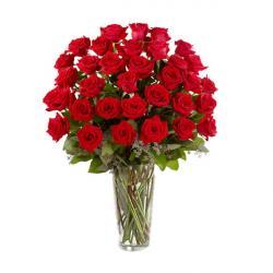 35 Red Roses In Glass vase