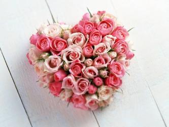 40 Pink Roses Heart Shape Arrangement