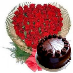 50 Roses Heart with Chocolate Cake