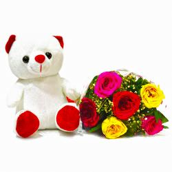 6 Mix Roses bouquet with Soft Toy Combo