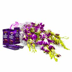 6 Purple Orchid with Cadbury Dairy Milk Chocolate Bars