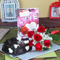 6 Red Roses Bouquet with Heart Shape Chocolate Cake and Love Card