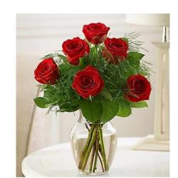 6 Red Roses In Glass vase