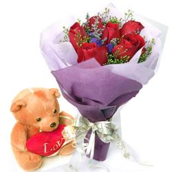 6 Roses with Teddy Combo
