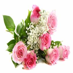 7 Pink Roses Hand Bunch