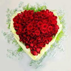 75 Roses Heart Shape Basket