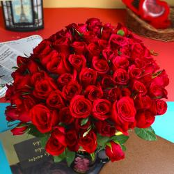 Adorable 50 Red Roses Bouquet