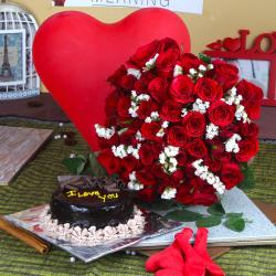 Air Filled Balloons with Chocolate Cake and Red Roses Bouquet