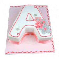 Alphabet Shaped Eggless Vanilla Cake