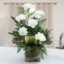 Amazing Six White Carnations in Vase