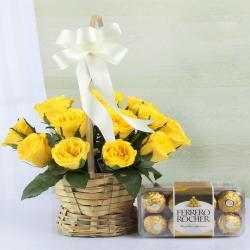 Amazing Yellow Roses with Ferrero Rocher Chocolate Box