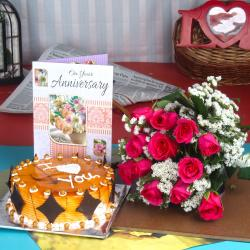 Anniversary Butterscotch Cake with Greeting card and Fresh Roses