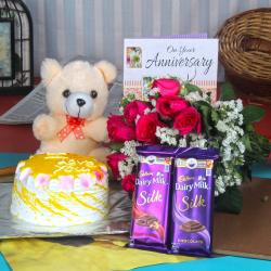 Anniversary Cake with Silk Chocolates and Teddy Hamper