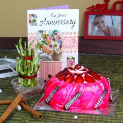 Anniversary Card with Strawberry Cake and Good Luck Plant