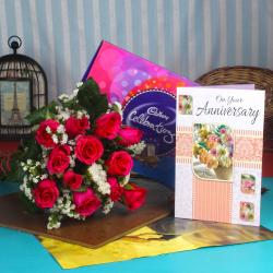 Anniversary Celebration Chocolate Combo with Fresh Roses and Greeting Card