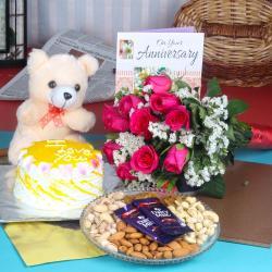 Anniversary Eggless Pineapple Cake Combo
