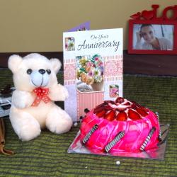 Anniversary Eggless Strawberry Cake with Teddy and Greeting Card