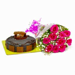 Anniversary Gift Combo of Ten Pink Roses Bouquet with Cake