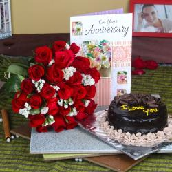 Anniversary Greeting Card with Red Roses Bunch and Chocolate Cake