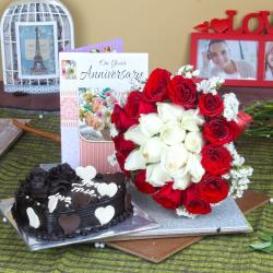 Anniversary Heart Shape Chocolate Cake with Greeting Card and Mix Roses Bouquet