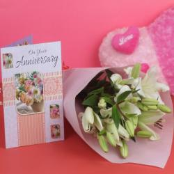 Anniversary Lillies Bouquet with Greeting Card