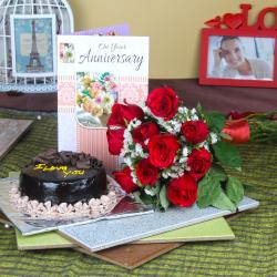 Anniversary Message Card with Fresh Roses Bunch and Chocolate Cake