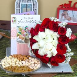 Anniversary Mix Roses Bouquet with Assorted Dry Fruit and Greeting Card