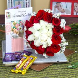 Anniversary Mix Roses Bouquet with Greeting Card and Assorted Chocolates